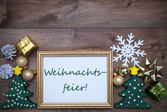 Frame With Decoration, Weihnachtsfeier Mean Christmas Party Stock Images