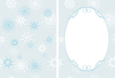 Frame on the decorative background with snowflakes Royalty Free Stock Photography