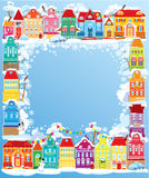 Frame with decorative colorful houses. Christmas a Stock Images