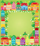 Frame with decorative colorful houses. Royalty Free Stock Images