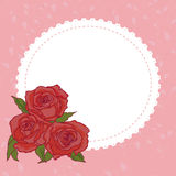Frame with decorative roses. Greeting card with red roses.Floral background royalty free illustration