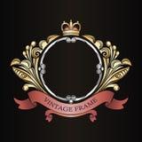 Frame decorativo do vintage Ornamento frondoso Beira para o monograma Teste padrão dourado luxuoso Fita heráldica ilustração do vetor
