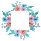 Frame with delicate flowers. Watercolor flowers royalty free illustration