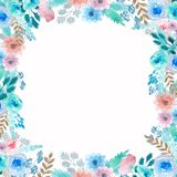 Frame with delicate flowers. Watercolor flower frame royalty free illustration