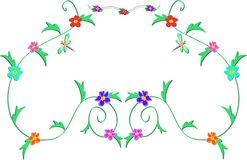 Frame of Delicate Vines, Flowers, and Dragonfly vector illustration