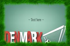 Frame. Denmark and a soccer ball at the gate Stock Image