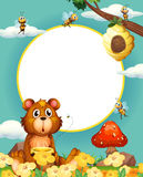 Frame design with bear and bees Stock Image