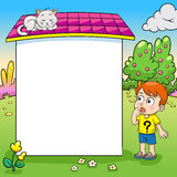 Frame design with boy and his cat illustration Royalty Free Stock Photos