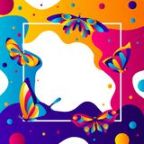 Frame design with butterflies. Colorful bright abstract insects vector illustration