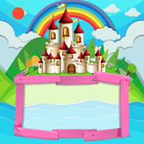 Frame design with castle and rainbow Royalty Free Stock Images
