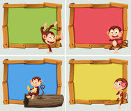 Frame design with cute monkeys Royalty Free Stock Photography