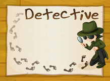 Frame design with detective and footprints Royalty Free Stock Image