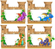 Frame design with dragon and castle Royalty Free Stock Image