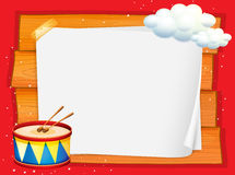 Frame design with drum and clouds Stock Image