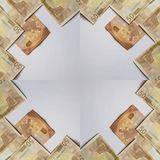 Frame design with 50 euro bills, background and texture. Cash and paper currency, backdrop for advertisements of economy, travel, success, finance and trade Stock Photography