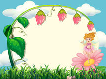 Frame design with fairy and flower Royalty Free Stock Photo