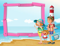 Frame design with family trip on the beach Royalty Free Stock Photography