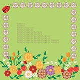 Frame design floral. Card - happy flower with bugs, green Royalty Free Stock Photo