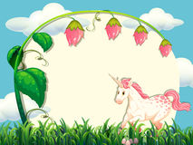 Frame design with flower and unicorn Stock Images