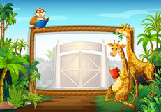 Frame design with giraffe and owl Stock Photography
