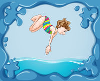 Frame design with girl diving in water Stock Photo