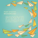 Frame design with paper planes.. Vector. Illustration. Back to school Royalty Free Stock Photo