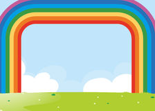 Frame design with rainbow over the field. Illustration Stock Images
