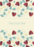 Frame design with strawberries, leaves and flowers  on i. Vory background can be used for wedding invitation, greeting card , baby shower and more creative Stock Photo