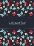Frame design with strawberries, leaves and flowers isolated on b Royalty Free Stock Images