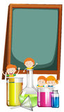 Frame design with students and science theme Royalty Free Stock Photo