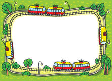 Frame design template with funny trams and rails Royalty Free Stock Images