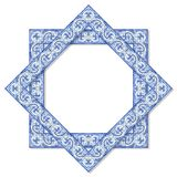 Frame design with typical portuguese decorations with colored ceramic tiles called `azulejos` royalty free stock photo