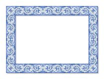 Frame design with typical portuguese decorations with colored ceramic tiles called stock images