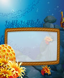Frame design with underwater background Royalty Free Stock Images