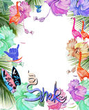 Frame for design watercolor tropical flowers, palm tree and birds. Tropical exotic print. Shaka style Royalty Free Stock Images