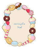 Frame with desserts Stock Image