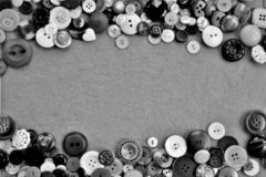 Frame of different buttons in black and white royalty free stock photography