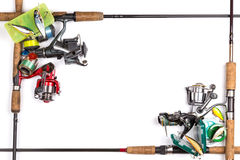 Frame from different fishing tackles Stock Photo