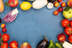 Frame of different fruits and vegetables Stock Image