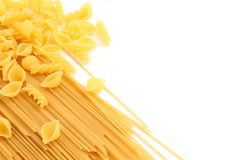 Frame of different pasta and a white background Stock Photography