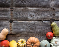 Frame of different pumpkins and squashes over wood, copy space Royalty Free Stock Photography