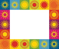 Frame with different sun icons. Vector illustration. stock photos