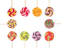 Frame of different sweet candies with space for design. On white background royalty free stock image
