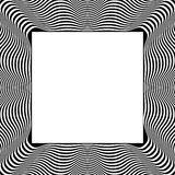 Frame with distorted radial wavy, zigzag lines. Monochrome geo. Metric borders. - Royalty free vector illustration Stock Image