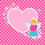 Frame do coração com princesa bonito ilustração stock