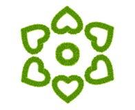 Frame do coração do amor da grama verde isolado Fotos de Stock