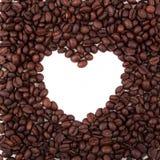 Frame do coração dos feijões de café Fotografia de Stock