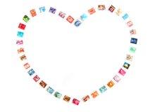 Frame do coração, selos de porte postal Foto de Stock Royalty Free