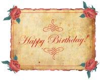 Frame do feliz aniversario com rosas Fotografia de Stock Royalty Free