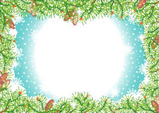 Frame do feriado das filiais e dos cones de árvore do pinho ilustração royalty free